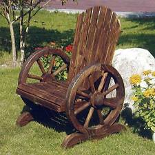 Cartwheel SolidWood Chair Burntwood Outdoor Home Garden Wheel Armrest ZLY-101550