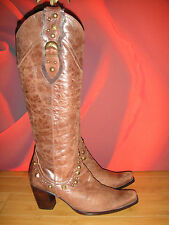 STYLISH BROWN DISTRESSED LEATHER SPIRAL COWBOY STYLE BOOTS  EU 36 *34*
