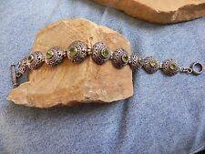 Filigree Link Tennis Bracelet Faceted Peridot & Sterling Silver