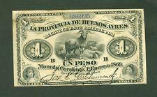 ARGENTINE (PICK SPECIALISE S.481b) PROVINCIA DE BUENOS AYRES 1 PESO de 1869 TTB+