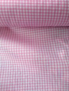 """BABY PINK, GINGHAM CHECK,  1/8"""" cotton mix, fabric, sold/PER METRE/"""