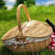 Large Wicker Shopping Basket with Handle Vintage Carry Picnic Hamper Cookery