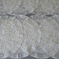 """Set of 8 Antique French NORMANDY LACE Round 9.5"""" Doilies * Embroidered FLOWERS"""