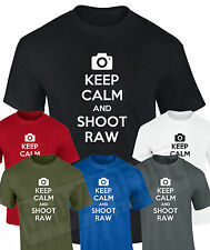 Keep Calm and Shoot RAW T Shirt | Funny photo photographer camera shutter gift