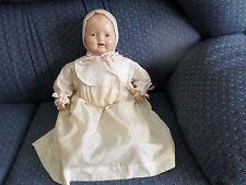 """Vintage 19"""" Horsman Composition Baby Dimples Doll Orig. Dress Slip Bonnet Bib?"""