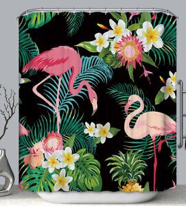 Flamingo Jungle Shower Curtain Pink Black Tropical Flowers Colorful Florida Bird