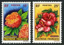French Polynesia 196-197, MNH. Flowers. Saraca indica, Hibiscus, 1962
