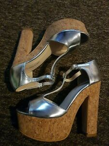 Silver And Cork block Platform heels Sandals Size 4 New, bedroom shoes? ;)