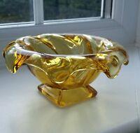 """Bagley Art Deco """" Equinox"""" amber glass posy bowl"""