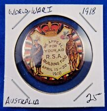 Original Vintage Wwi Ww1 Australia 1918 We Appeal For Your Aid Rsa Pin Button