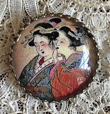 "SATSUMA GEISHA NOBLE WOMEN TELLING SECRET 1 1/4"" GLASS DOME BUTTON Vintage Art"