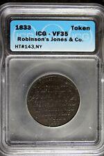 1833 - Icg Vf35 Robinson'S Jones & Co. Civil War Token! #B23875