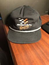VINTAGE WESTERN AUTO RACING HAT BLACK STITCHED SNAP-BACK  CAP Used
