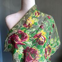 """Vintage 38"""" Sheer Grey Gray Floral Rose Oblong Scarf Red Green Large Flower"""