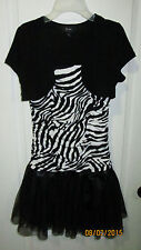Youth Girls Size 16 Amy Byer Girl B Wear Black White Zebra Striped Casual Dress