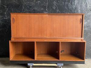Danish Teak Mid Century Modern Sideboard Credenza Bookshelf Storage Unit