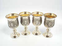 FB Rogers Silverplated Set of 4 Small Goblets, Floral Grape Design, with box