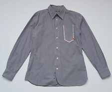 MENS PEPE JEANS CASUAL POLO SHIRT LONG SLEEVED STRIPED GREY FITTED SLIM S SMALL