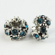 10pcs Rhinestone Crystal Tibetan Silver Charm Spacer Beads Fit European Bracelet