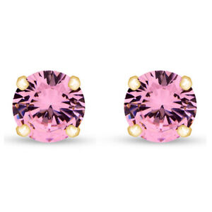 2.00 Ct Round Cut Pink Tourmaline 18K Yellow Gold Over Stud Earrings