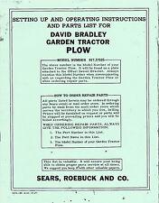 David Bradley Garden Tractor Plow Model 91757525 Instructions Reprint