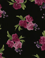 Timeless Treasures Spaced Orchid Bouquets Black 100% cotton fabric by the yard