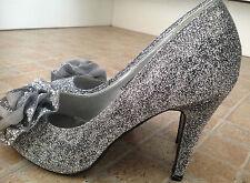 CASANDRA Silver Sparkle Flower Detail Stiletto Peep Toe Heels UK 3 EU 36 Glitter