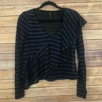 Zara Trafaluc Shimmery Glittery Blue & Black Striped Long Sleeve Top Size Large