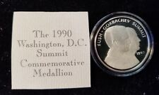 1990 LIBERTY MINT GEORGE BUSH SR. - GORBACHEV SUMMIT COMMEMORATIVE SILVER 1 OZ