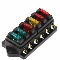 6 Way Circuit Standard ATO Blade Fuse Box DC 12V/24V Car Fuse Block Holder 3-30A