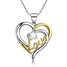 925 Sterling Silver Heart Necklace Pendant With Cubic Zirconia Stone Gift Boxed