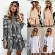UK Womens Check Pleated Cotton Top T-shirt Ladies Casual Party Mini Dress Blouse