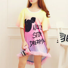 Kawaii Summer Gradient T-shirt Tulle Lolita Short Sleeve Loose Pullover Dress #1