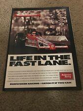 Vintage 1992 BUDWEISER KING NHRA RACING Poster Print Ad KENNY BERNSTEIN BUD DRAG
