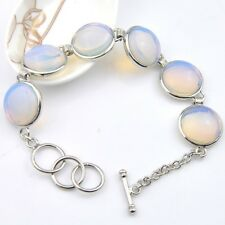 Dazzling Round Fire Moonstone Cubic Zirconia Silver Chain Bracelets Bangles