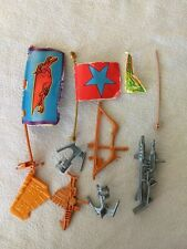 Vintage He-Man MOTU Eternia Playset Pieces weapons, gun axe, bow, flags, banners