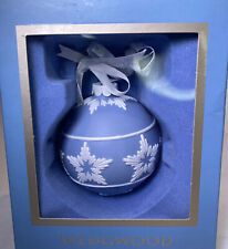 Wedgwood Christmas Ball Star Relief Ornament Blue & White New In Box
