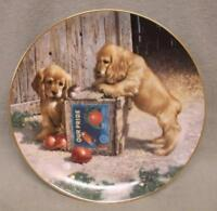 """""""Double Take"""" 1st issue in Puppy Playtime Collection; spaniels 1987 COA & box"""