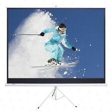 100'' Projection Screen 16:9 Projector Movie Tripod Portable Pull-Up Matte White