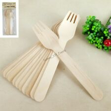 ECO WOODEN FORKS TABLE WARE NATURAL KRAFT 12PK PARTY CUTLERY DISPOSABLE PICNIC