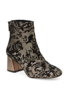 Nanette Lepore Women's 6 MED Rose Pewter Booties Metallic Brocade Ankle Boot