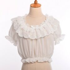 1pc Chiffon Lace Bottoming Top Lolita Shirt Girls Puff Sleeve Frilly Blouse