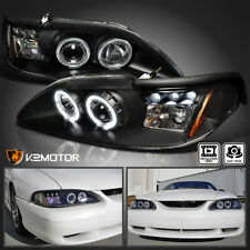For 1994 1998 Ford Mustang Cobra Black Led Halo Projector Headlights Leftright Fits Mustang