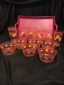 6 Cups and Bowls -Yellow & Pink pattern, + Pink Serving Tray + 2 Packs Of Napkin