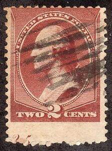US # 210  (1881) 2c-Grade: VG -EFO: Partial Plate # on bottom of stamp. SCARCE!!