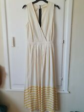 Band Of Outsiders Cream And Yellow Striped Maxi Dress Size Small Uk 10