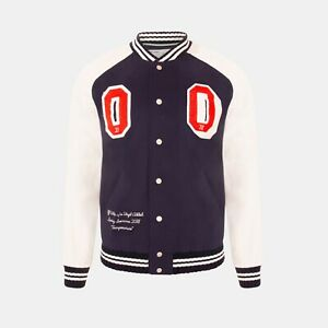 Off-White Patch Varsity Baseball Jacket In Navy Blue RRP £1245