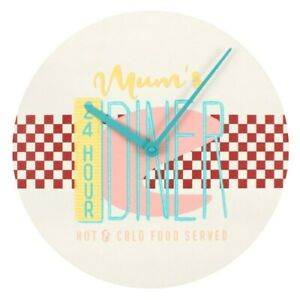 """Large Retro Style 50's Cafe MDF Round """"Mum's Diner"""" Wall Clock Battery Operated"""