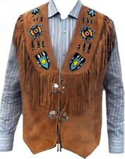 Men Western Brown Suede Leather Vest with Fringe and beads ALL SIZE
