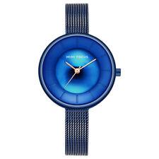 Ladies Slim Quartz Analog Wrist Watch Dress  Mesh Belt Women Wristwatch Blue